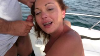Wife giving a friend a blow job while we watch him cum on her face