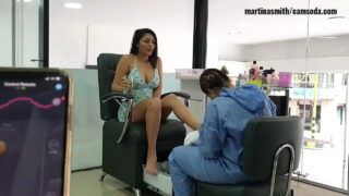 Making her squirt at the salon